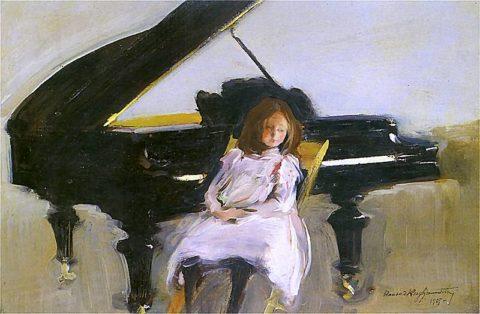 Konrad Krzyżanowski. Dziewczynka przy fortepianie
