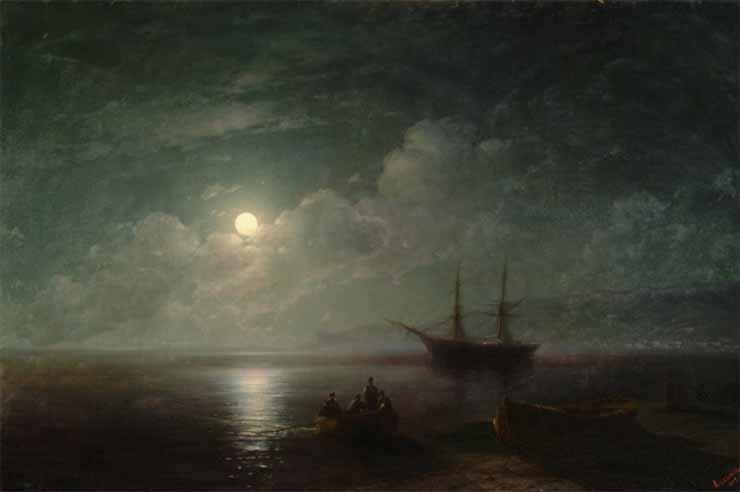 Pejzaż morski z księżycem w pełni